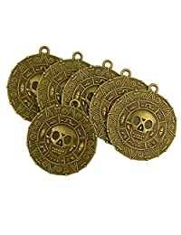 6x Punk Halloween Pirates Aztec Coin Medallion Skull Necklace Pendant Bronze