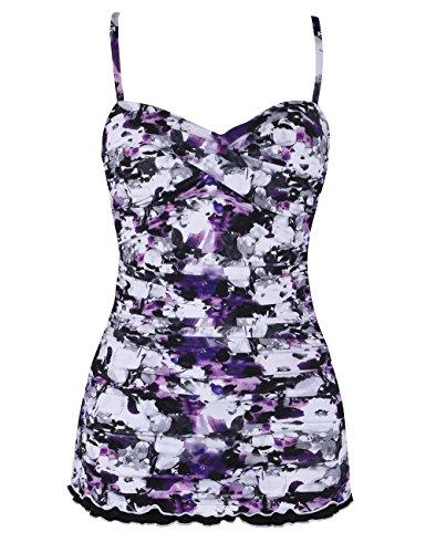Hilor Women's One Piece Swimsuits Tummy Control Swimwear Ruffle Swimdress with Panty Purple Floral 8