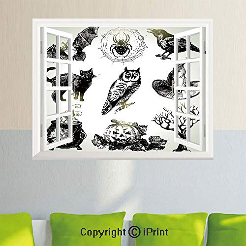 Delicate Wall Decal Sticker,Halloween Related Pictures Drawn by
