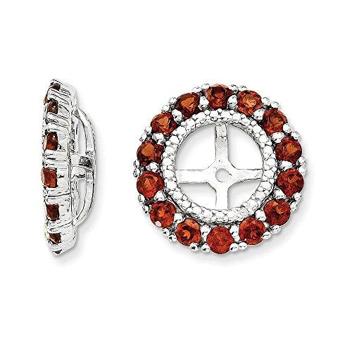 Sterling Silver Rhodium Diamond & Garnet Earring Jacket by Jewels By Lux