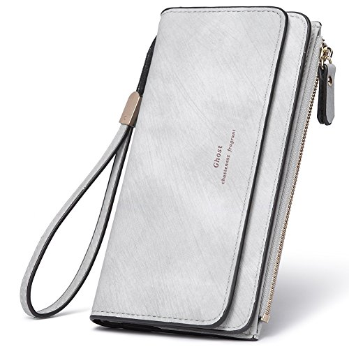 Fold Designer Wallet - Women Wallet Wristlet PU Leather Clutch Purse Bifold Ladies Checkbook Multi Card Holder Organizer with Zipper Pocket gray