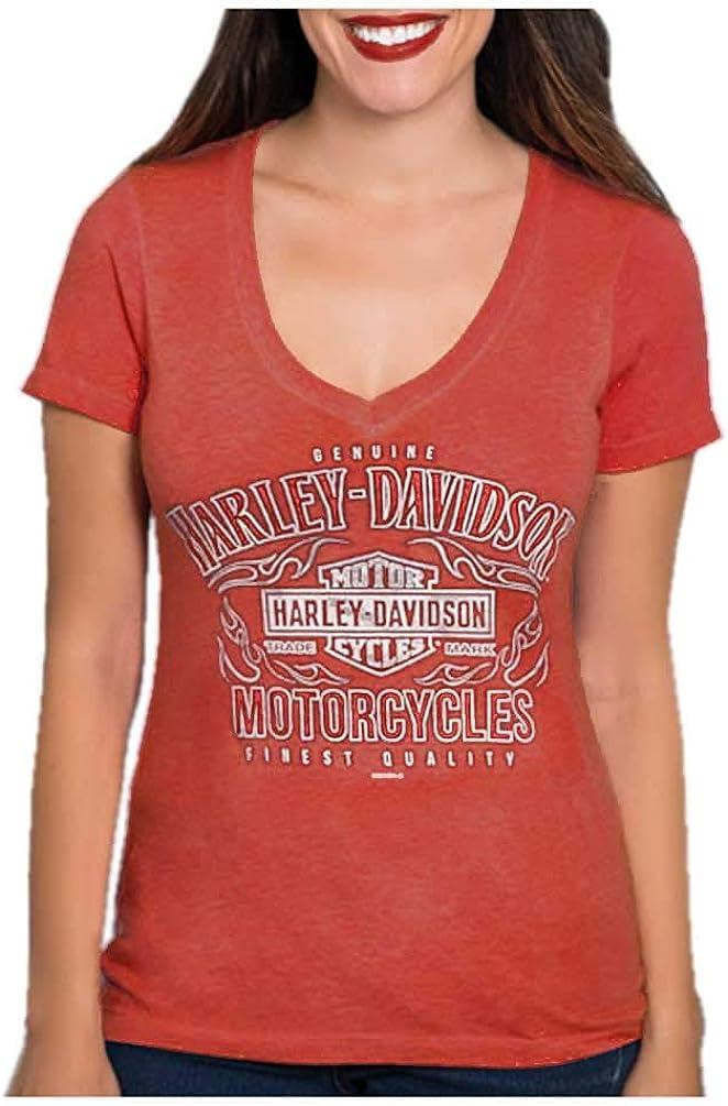 Black Harley-Davidson Women/'s Bling Script Short Sleeve V-Neck Cotton T-Shirt