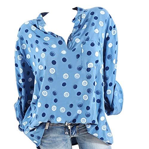 Longues Femmes Innerternet Blouse Manches Taille Point Taille Plus d'onde Impression Plus Montant LaChe Bleu Col Chemisiers Autumne wR0qpwT