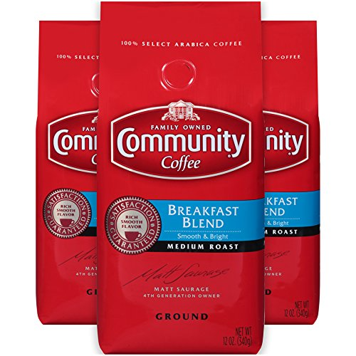 Community Coffee Breakfast Blend Medium Roast Premium Ground 12 Oz Bag (3 Pack), Medium Full Body Smooth Bright Taste, 100% Select Arabica Coffee Beans (Best Store Brand Coffee)