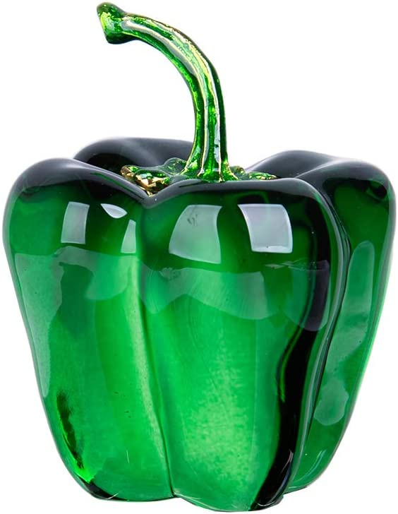 LONGWIN Crystal Figurines Glass Fake Hot Chili Pepper Vegetable Collectible Gift Table Party Decoration for Kids - Green