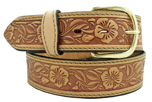 Men's Floral Embossed Belt 1 1/2