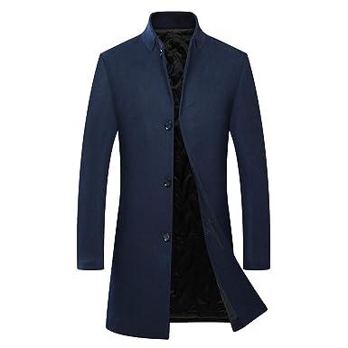 fa5c79c4a0a3 Manteau Homme d hiver Laine Veste Chaud Trench Coat Long Manche Longue  Blazer Outwear élégant