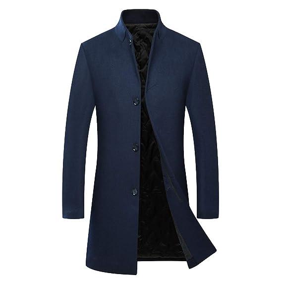 Manteau Homme Long Hiver Veste Laine Chaud Trench Coat Elégant à la Mode