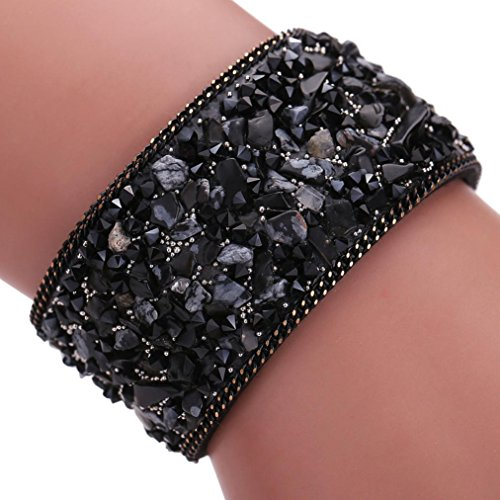 AutumnFall® Womens Simulated Gemstones Beaded Leather Wrap Around Bracelet (Black)
