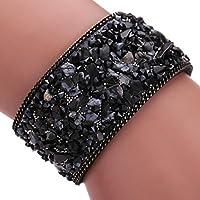 AutumnFall® Womens Simulated Gemstones Beaded Leather Wrap Around Bracelet (Black)
