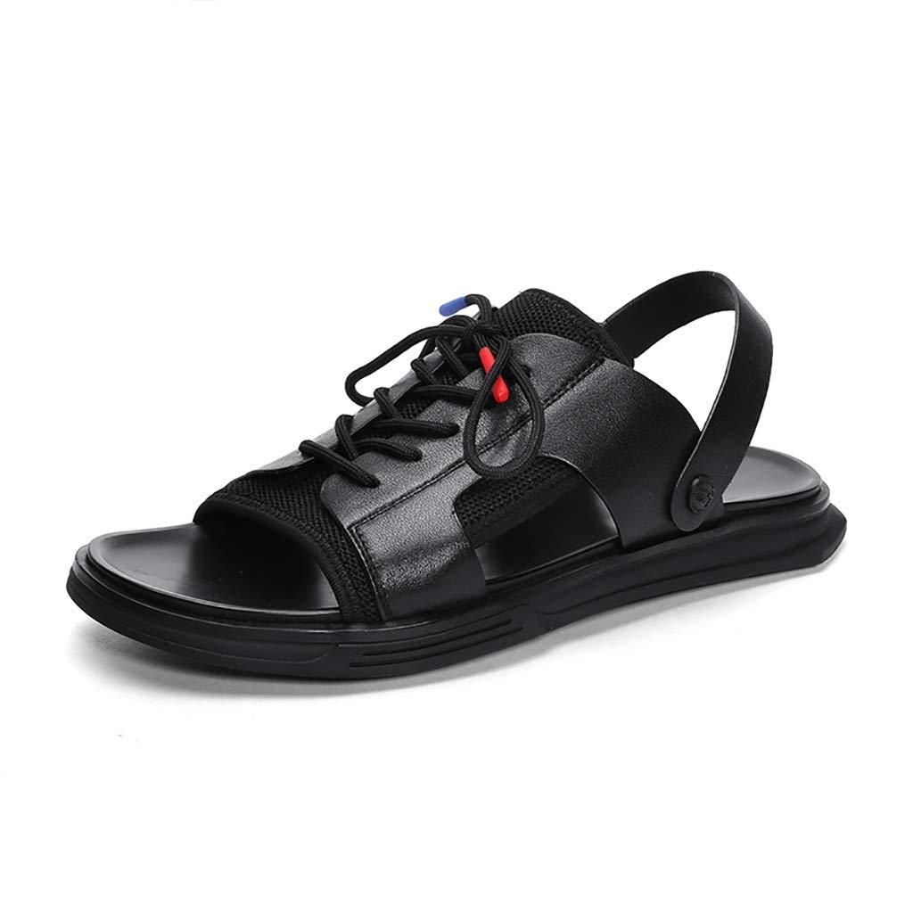 Black LQ Men's sandals First layer leather lace-up sandals, summer men's leather breathable leak toe casual sandals, rubber foam wear-resistant anti-slip rubber shoes (color   Black, Size   44)