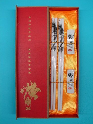 Gift Set of Porcelain Chopsticks with Bamboo and Panda -