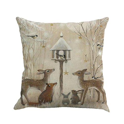 Reindeer Season - Xmas Throw Pillow Covers, Keepfit Merry Christmas Home Decor Pillow Case Holiday Season Decorations for Couch, Chair, Sofa, Assorted Designs (Reindeer and Rabbit)