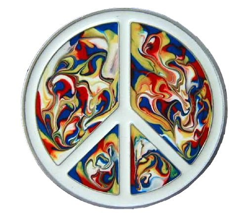 Psychedelic Peace Symbol Colored Novelty Belt Buckle ()