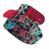 Koolemon Guitar Strap/Bass Strap,Rainbow Multicolor Skull Pattern Cotton Belt for Acoustic/Electric/Bass Guitar 5cm Wide, Adjustable Length from 135 cm to 150 cm