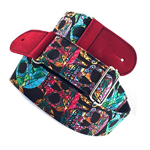 Koolemon Guitar Strap/Bass Strap,Rainbow Multicolor Skull Pattern Cotton Belt for Acoustic/Electric/Bass Guitar 5cm Wide, Adjustable Length from 135 cm to 150 cm by Koolemon