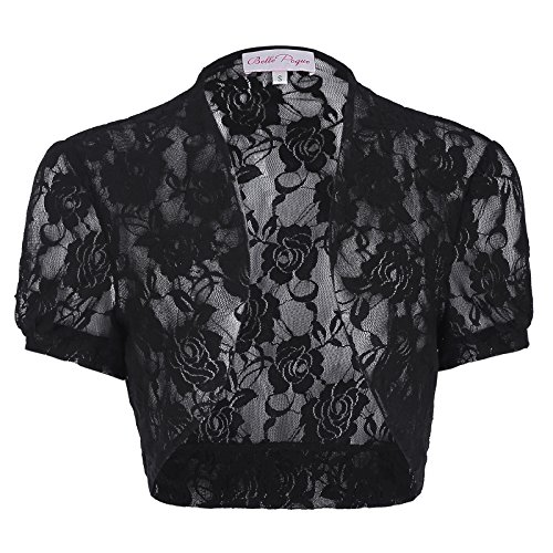 Short Sleeve Crop Shrug (Women's Shrug Short Sleeve Open Front Crop Bolero (S, Black 217-1))