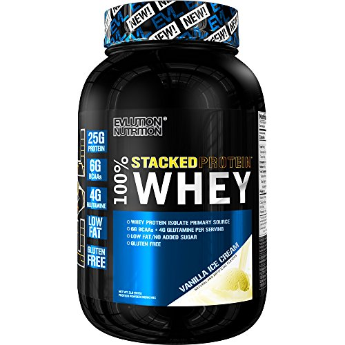 Evlution Nutrition Stacked Protein 100% Whey (2 LB, Vanilla Ice Cream)