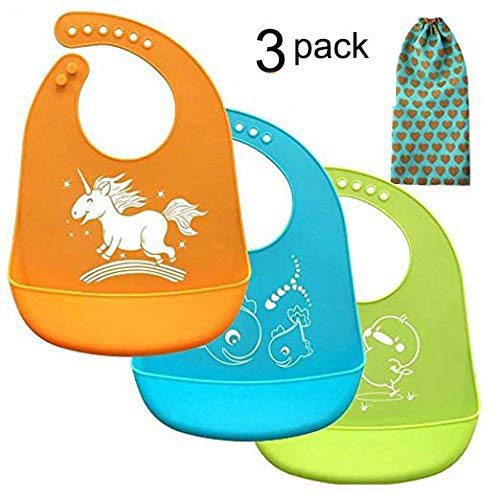 Price comparison product image Baby bibs,  Christmas Baby Gifts,  Comfortable Soft Baby Bibs With Gift-Wrapping,  Silicone Bibs for Newborns Infant Toddlers,  Easily Wipes Clean , Set of 3 Colors (3pcs,  Silicone baby bibs)