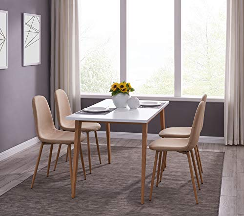 IDS Online MLM-18748-4 Scandinavian Style MDF Dining Table Set 5 Pieces, Beige