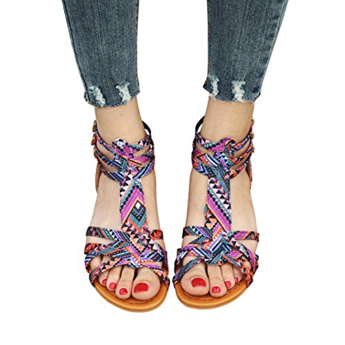 - Women Beach Flat Buckle Sandals Women Bohemia Sandals Ethnic Style Sandals Flats Shoes Buckle Strap Sandals (US:8, Purple)