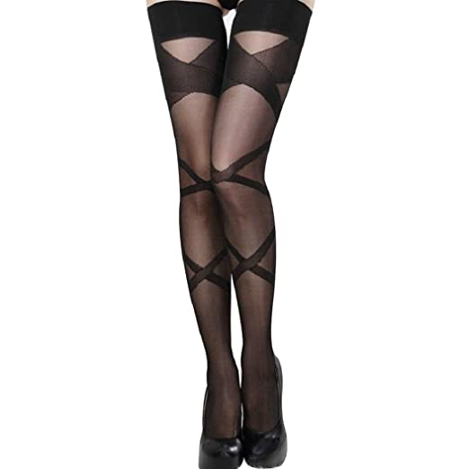 76857727a Image Unavailable. Image not available for. Color  Gaweb Women s Girl s Sexy  Lace Top Thigh-Highs Stripes Black Stockings Hold-Up Socks