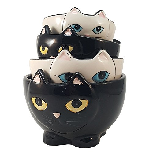 Pacific Giftware Adorable Ceramic Black and White Cats Nesting Measuring Cup Set of 4 Creative Kitchen Decor