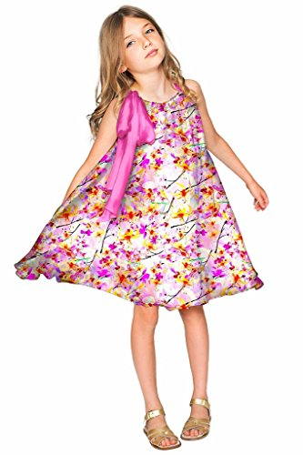 PineappleClothing Girls' Chiffon Floral Print Summer Party Swing Halter Dress by PineappleClothing