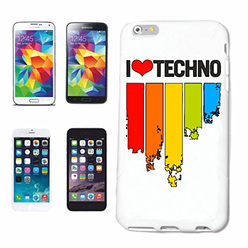 "cas de téléphone iPhone 7 ""Je LOVE TECHNO MUSIC BAND SHIRT GENRE TECHNO TECHNO CONCERT EVENEMENT DJ"" Hard Case Cover Téléphone Covers Smart Cover pour Apple iPhone en blanc"