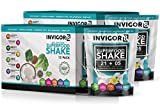 INVIGOR8 Superfood Shake (French Vanilla) Gluten-Free and Non GMO Meal Replacement Grass-Fed Whey Protein Shake with Probiotics and Omega 3 (12-Pack Pouches) (2 Pack Vanilla (Save 15))