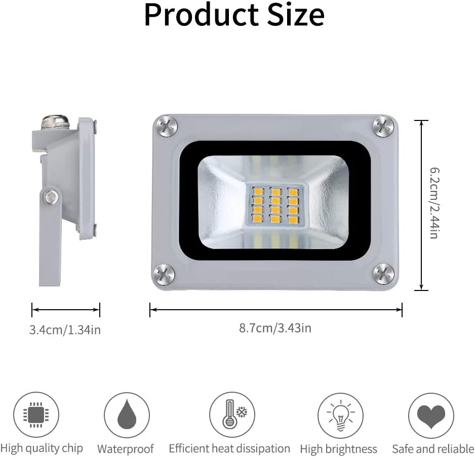 Proyector LED para exteriores 10W 800lm Proyector Luces de paisaje 6500K Reflector blanco fr/ío Impermeable IP65 Proyector para Jard/ín Terraza Garaje Patio F/ábrica