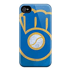 Unique Design Iphone 4/4s Durable Tpu Case Cover Milwaukee Brewers