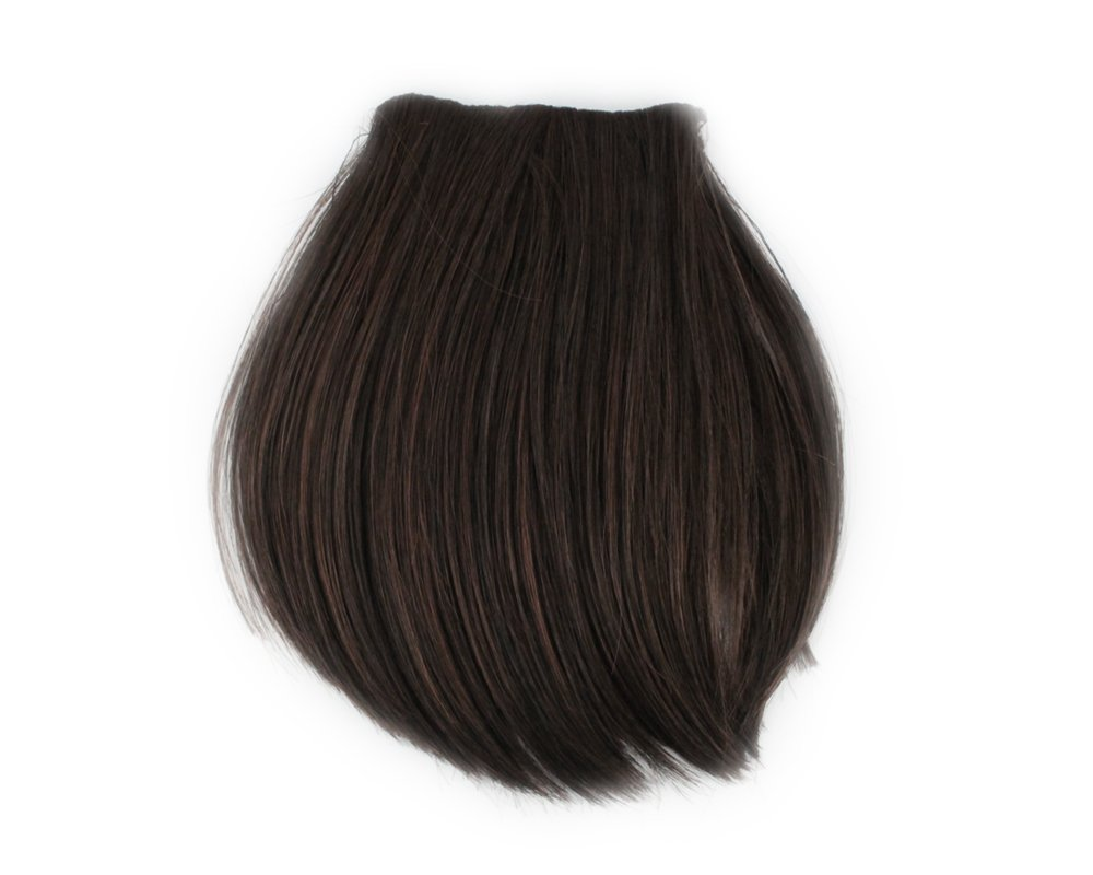 Fashion 1 pcs Cute Clip On Clip In Front Bangs Wig Front Hair Bangs Fringe Hair Extension Dark Brown B BONAMART