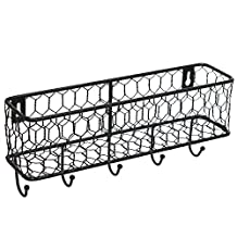 Modern Black Metal Wall Mounted Key and Mail Sorter Storage Rack w/ Chicken Wire Mesh Basket