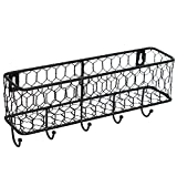 Modern Black Metal Wall Mounted Key and Mail Sorter Storage Rack w/ Chicken Wire Mesh Basket