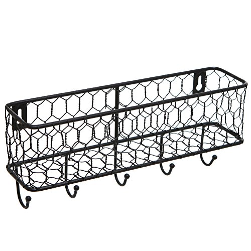 Modern Black Metal Wall Mounted Key and Mail Sorter Storage Rack w/ Chicken Wire Mesh - Wire Wall Rack