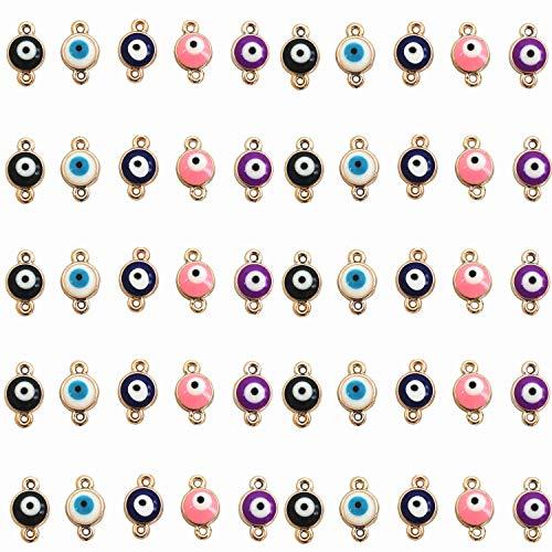 MIAO JIN 50 Pcs Evil Eye Connectors Pendants Fashion Connectors Beads DIY Necklace Bracelet Jewelry Making (5 Colors)