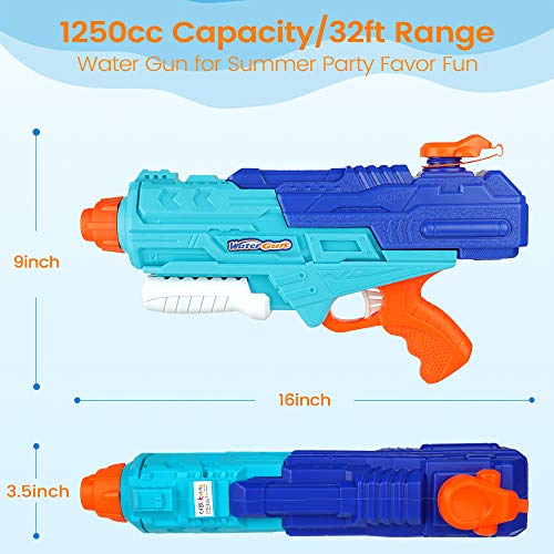 Kiztoys Air Pressure Trigger Water Pistol, Sports Jet Water Gun Outdoor Garden Swimming Pool Beach Party Water Fighting Toys for Children Girls Boys -1250ml