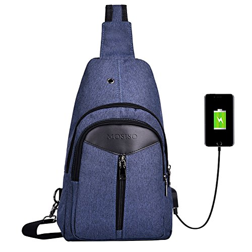 MOSISO Sling Backpack with USB Charging Port, Polyester Travel Daypack Durable Chest Shoulder Unbalance Gym Fanny Crossbody Sack Satchel Outdoor Hiking Bag for Men Women Girls Boys, Navy Blue
