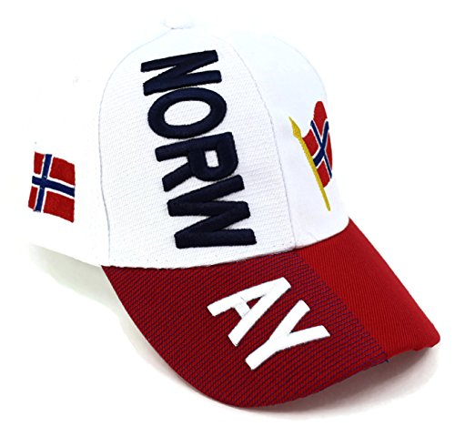 """High End Hats """"Nations of Europe Hat Collection"""" Embroidered Adjustable Baseball Cap, Norway with Flag, (Home Rugby Shirt Collection)"""