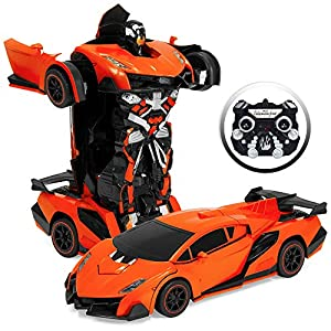 Best Choice Products Kids Interactive Transforming RC Remote Control Robot Drifting Sports Race Car Toy w/ Sounds, LED Lights - Orange