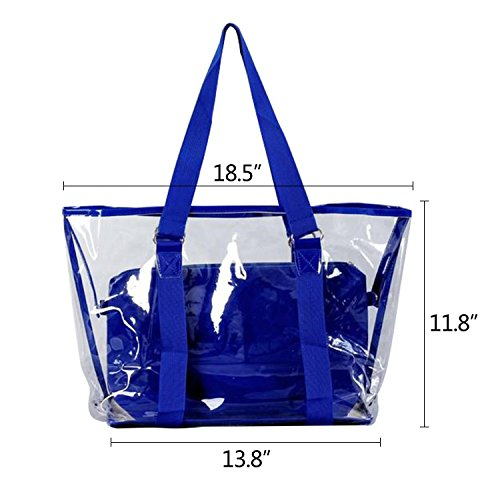 Transparent Handbag Blue With Pouch PVC Tote Summer Beach Large Interior Clear NOTAG bag Capacity Waterproof vgxU6qvwd