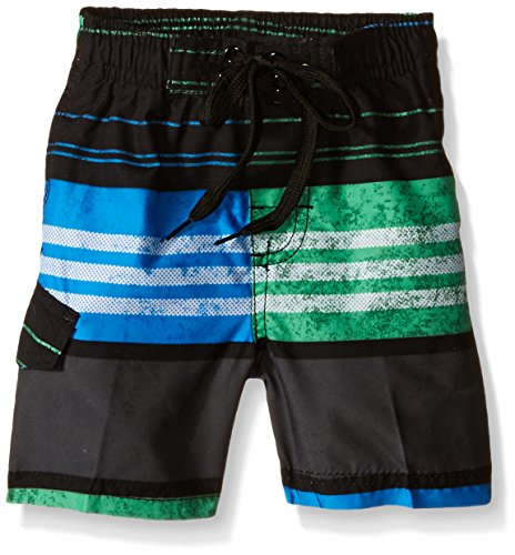 Kanu Surf Little Boys' Toddler Halo Stripe Swim Trunks, Black/Green, 3T (Halo Suits For Kids)