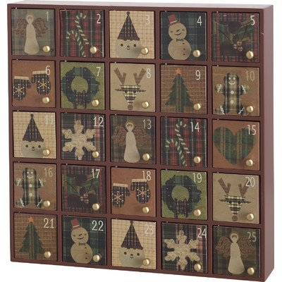 Wooden Rustic Style Tabletop Holiday Advent Calendar by Transpac Imports, Inc. (Image #1)