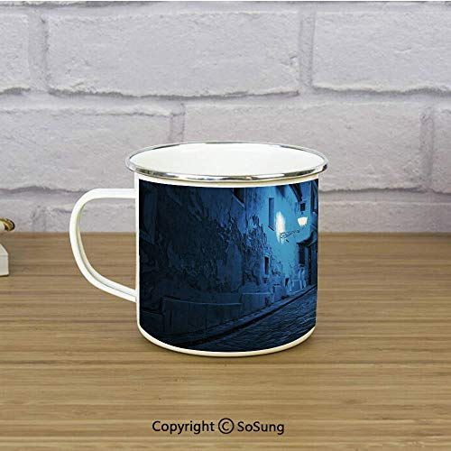 Urban Travel Enamel Mug,Black Cat Crossing Deserted Street at Night Mysterious Old European Town Alley,11 oz Practical Cup for Kitchen, Campfire, Home, TravelBlue Black - Cats Alley Bowl