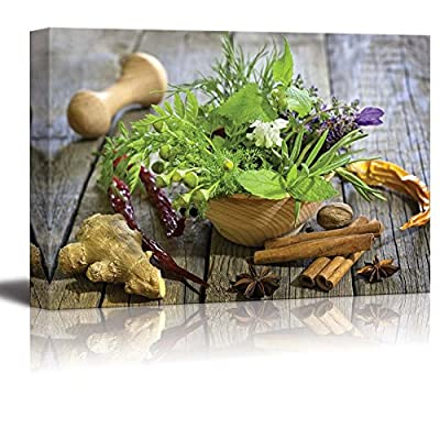 Premium Creation, Stunning Creative Design, Still Life Closeup of Fresh Herbs and Spices on Vintage Wooden Boards Wall Decor