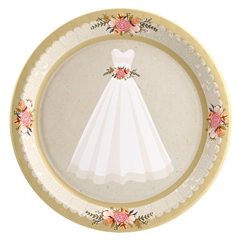 (Floral Lace Rustic Wedding Gown Dinner Plate (8))