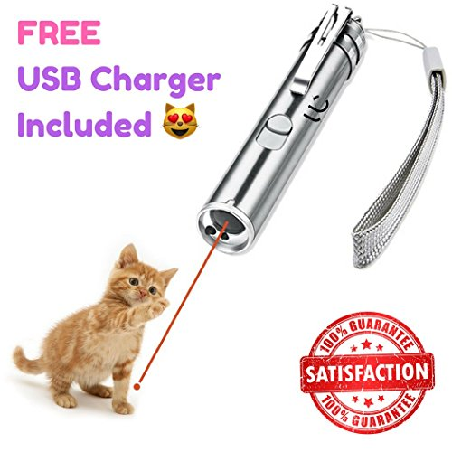 Undercut Innovations Professional Laser Pointer Cat Toy and Training Tool, Free USB Charging Cable Included Interactive LED Light with 3 Settings