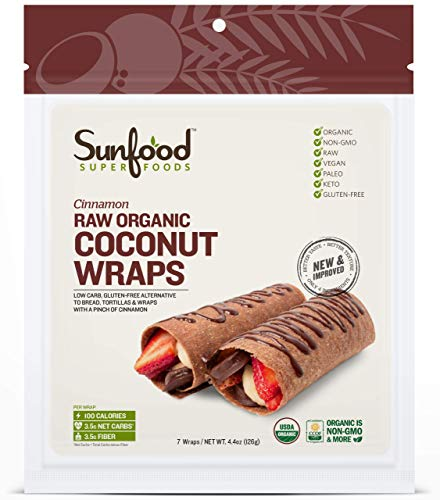 Sunfood Superfoods Cinnamon Coconut Wraps Raw Organic 7 ct