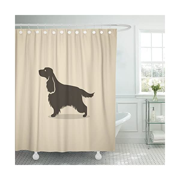TOMPOP Shower Curtain Silhouette English Cocker Spaniel Dog Hair Long Animal Beautiful Waterproof Polyester Fabric 78 x 72 Inches Set with Hooks 1
